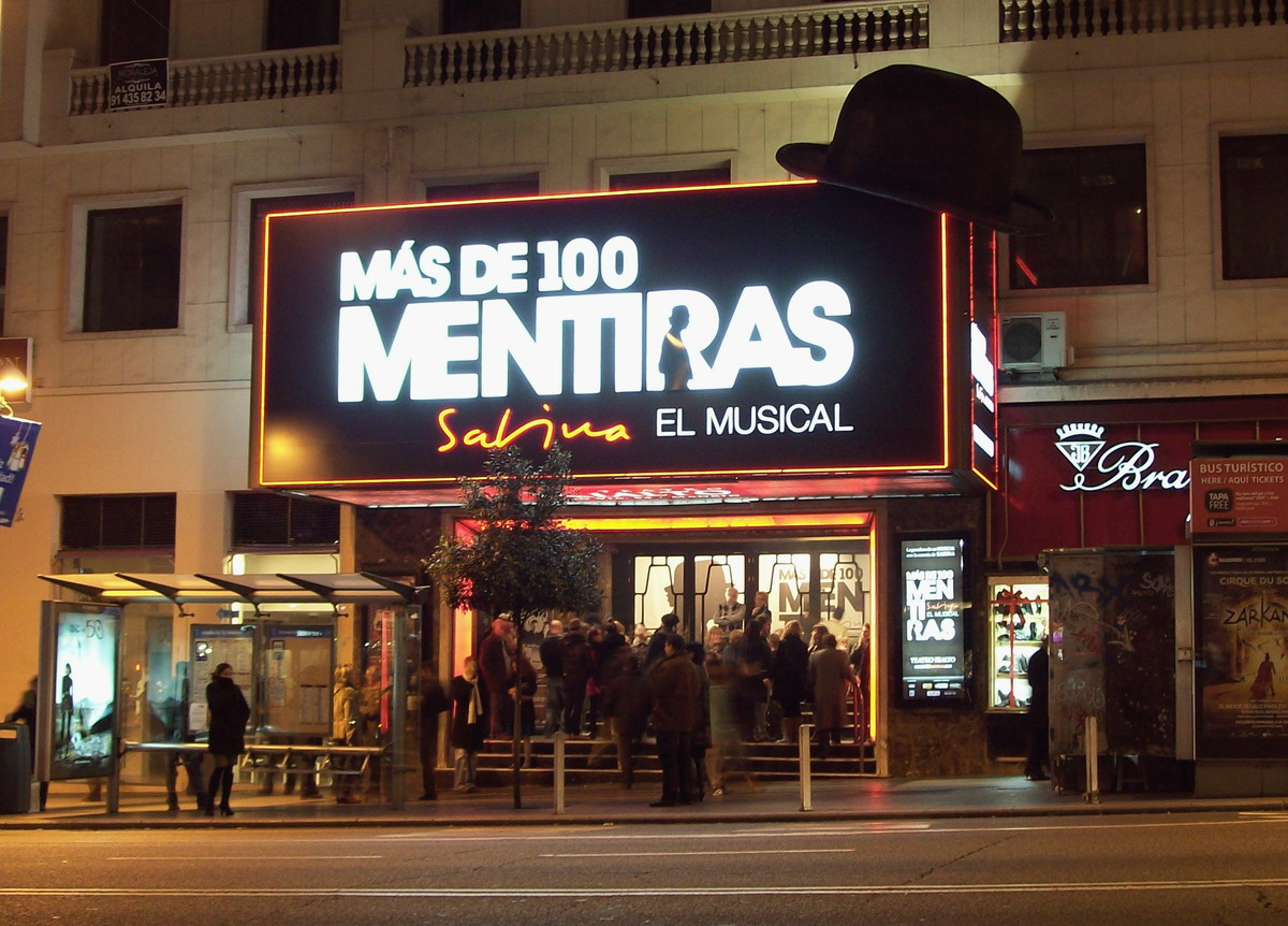 The musical 'MAS DE CIEN MENTIRAS' at Rialto Theater in Centro district in Madrid (Spain).