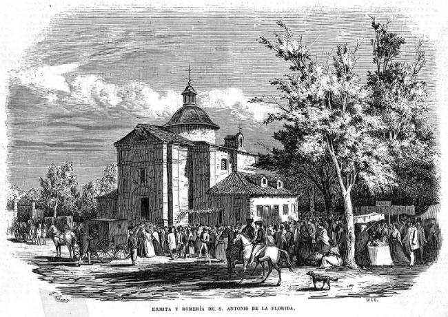 Antiguo grabado de la Ermita de San Antonio de la Florida