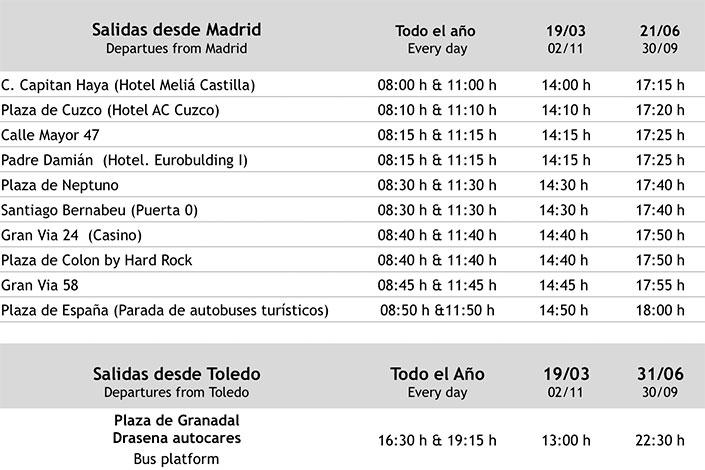 Horarios de salida desde Madrid y Toledo (Toledo Experience)